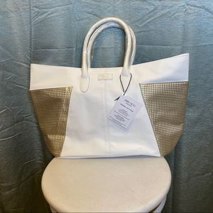 NWT Jimmy Choo Parfums white and gold tote